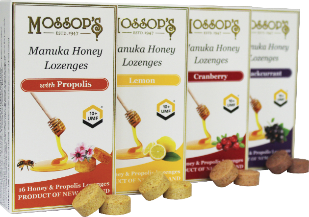 Mossop's UMF 10+ Manuka Honey & Propolis Lozenges with Cranberry